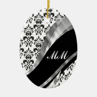Black & white damask christmas ornament