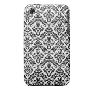Black & White Damask Design Blackberry Curve case