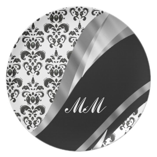 Black & white damask dinner plates