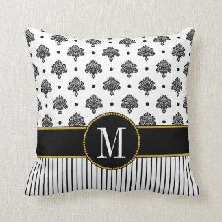 Black White Damask Dots Stripes Gold Monogram Cushion