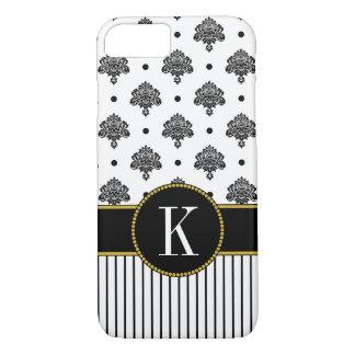 Black White Damask Dots Stripes | Gold Monogram iPhone 8/7 Case