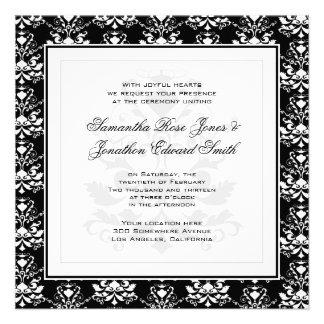 Black & White Damask Elegant Wedding Invitation