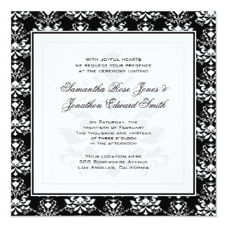 Black & White Damask Elegant Wedding Invitation