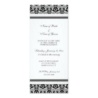 "Black White Damask Engagement Party Invitations 4"" X 9.25"" Invitation Card"