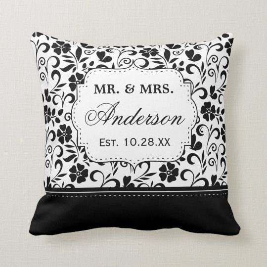 Black White Damask Floral Just Married Wedding Cushion