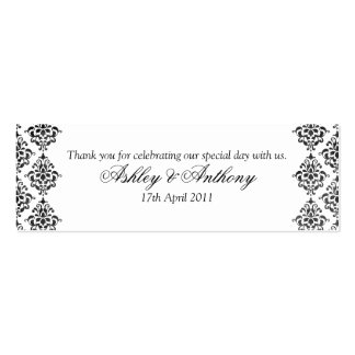 Black White Damask Floral Wedding Favour Tags Business Cards