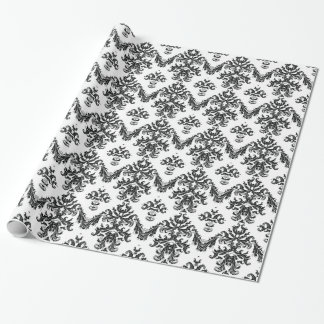 Black White Damask Gift Wrapping Paper  Black