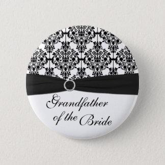 Black, White Damask Grandfather of the Bride Pin