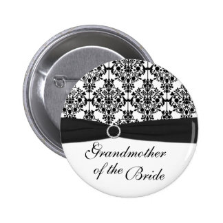 Black White Damask Grandmother of the Bride Pin