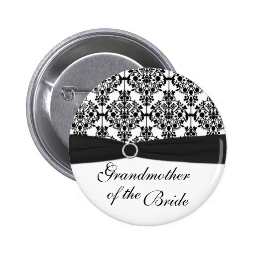 Black, White Damask Grandmother of the Bride Pin