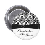 Black, White Damask Grandmother of the Groom Pin