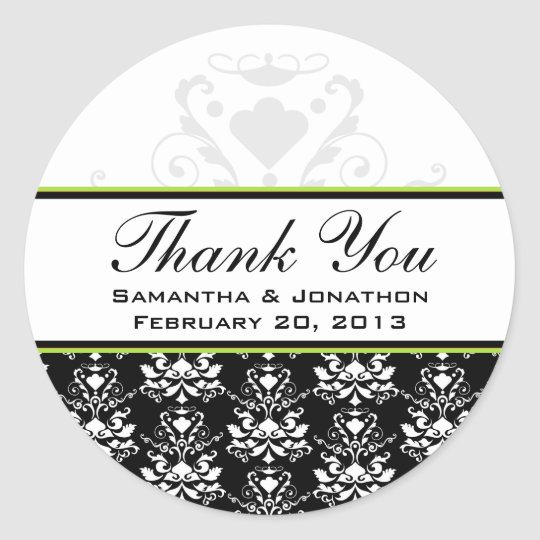Black & White Damask Green Accent Wedding Labels