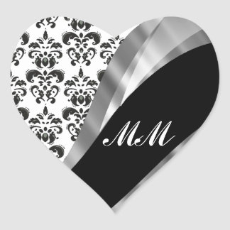 Black & white damask heart sticker