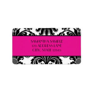 Black & White Damask, Hot Pink Label