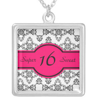 Black White Damask Hot Pink Sweet 16 Necklace