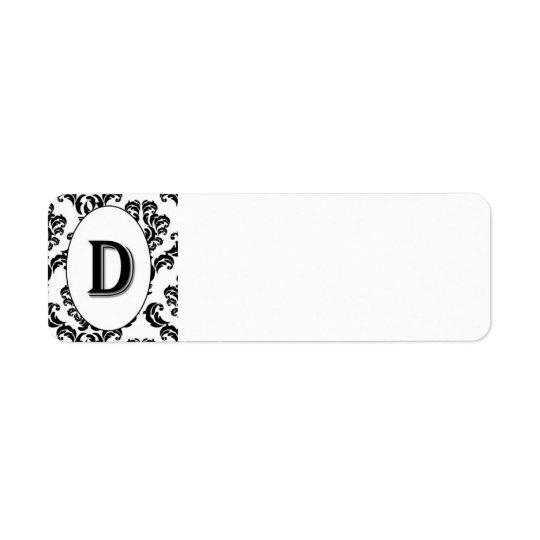 Black & White Damask Initial