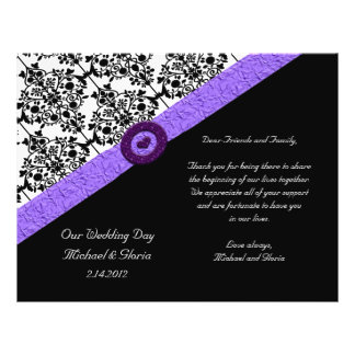 Black & White Damask Lavender Sparkle Heart 21.5 Cm X 28 Cm Flyer