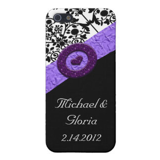 Black & White Damask Lavender Sparkle Heart Cover For iPhone 5/5S