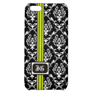 Black white damask, lime band with monogram iPhone 5C covers
