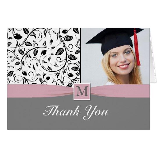 Black white damask monogram Graduation Photo Card