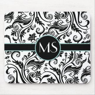 Black White Damask Monogram Mouse Mat
