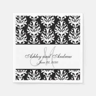 Black White Damask Monogram Wedding Paper Napkins