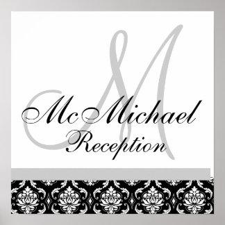 Black & White Damask  Monogram Wedding Reception Posters