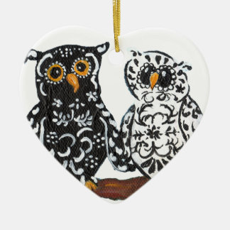 Black & White Damask Owls Ornament
