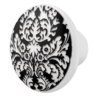 Black & White Damask Pattern Ceramic Knob