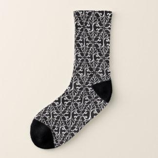 Black White Damask Pattern Fancy white Scrolls Socks