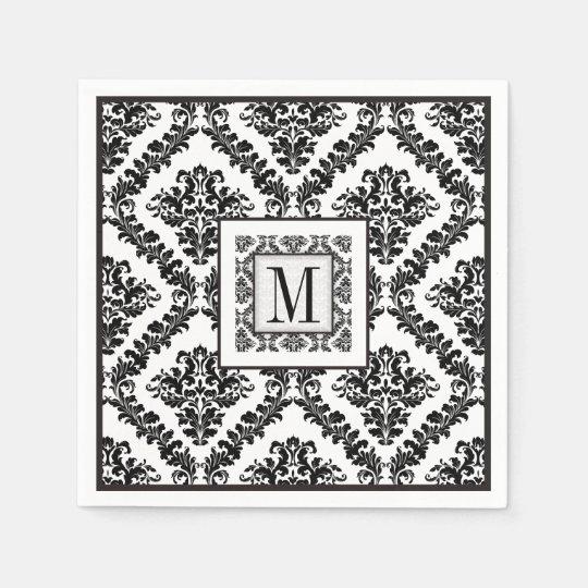 Black, white damask pattern monogram wedding disposable
