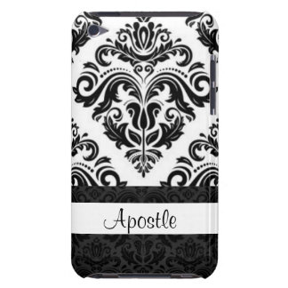 Black White Damask Pattern Print Design Barely There iPod Cases