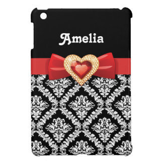Black white damask pattern & red bow and jewel iPad mini cases