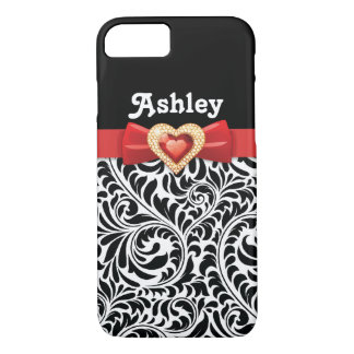 Black white damask pattern & red bow and jewel iPhone 7 case