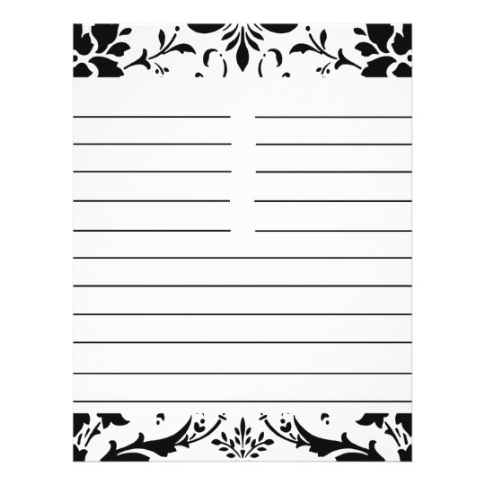 Black & White Damask Personalised Matching Recipe Flyer