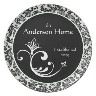 Black & White Damask Personalized Melamineware Plate