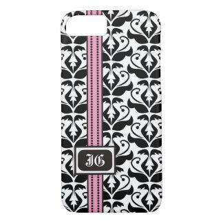Black white damask, pink band with monogram iPhone 7 case