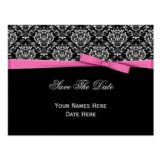 Black White Damask Pink Bow Ribbon Save The Date Postcard