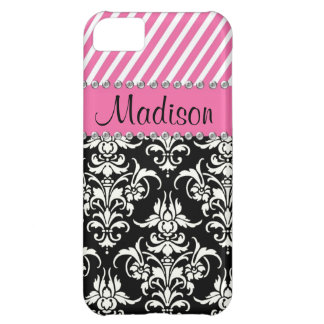 Black & White Damask / Pink Stipes Rhinestone Case