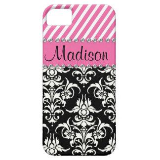 Black & White Damask / Pink Stipes Rhinestone Case Barely There iPhone 5 Case
