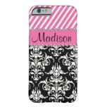 Black & White Damask / Pink Stipes Rhinestone Case Barely There iPhone 6 Case