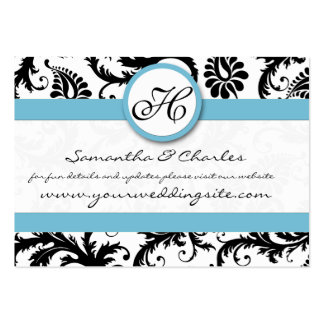 Black White Damask Pool Blue Trim Wedding Website Business Card Templates
