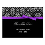 Black White Damask Purple Bow Ribbon Save The Date Postcard