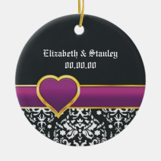 Black white damask purple heart Save the Date Round Ceramic Decoration