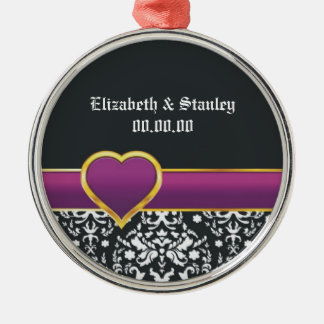 Black white damask purple heart Save the Date Silver-Colored Round Decoration