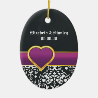 Black white damask purple heart Save the Date Double-Sided Oval Ceramic Christmas Ornament