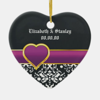 Black white damask purple heart Save the Date Double-Sided Heart Ceramic Christmas Ornament
