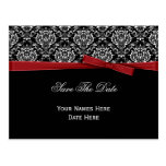 Black White Damask Red Bow Ribbon Save The Date Postcard