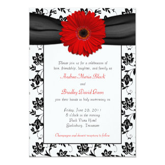 Black White Damask Red Daisy Wedding Invitation