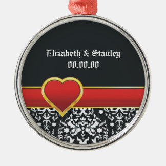 Black white damask red heart wedding Save the Date Silver-Colored Round Decoration